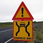La clásica señal de puente de carril único